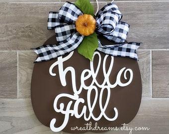 LIMITED QTY! Large Brown Wooden Pumpkin Decor Wreath. Autumn Wreath. Hello Fall. Autumn Wreath. Wall Wreath. Door Wreath. Monogram Wreath.