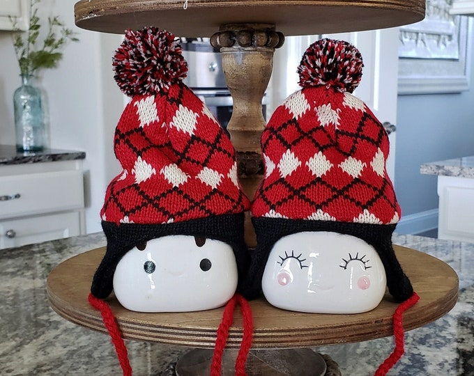 Black and Cream Nordic Diamond Pattern Knit Hats  for Marshmallow Mugs. Farmhouse Decor. Tier Tray Decor. Tier Stand Decor. Rae Dunn Decor.