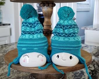 Blue Knit Hats for Marshmallow Mugs. Farmhouse Decor. Tier Tray Decor. Tier Stand Decor. Rae Dunn Decor.