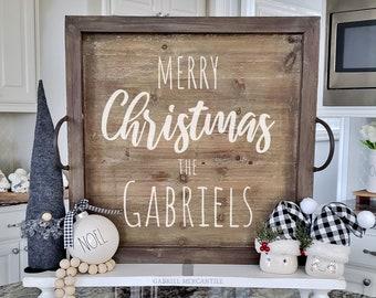 Merry Christmas Family Sign. Christmas Sign.  Christmas Tray. Christmas Wall Decor. Christmas Family Sign. Farmhouse Decor. Rae Dunn.