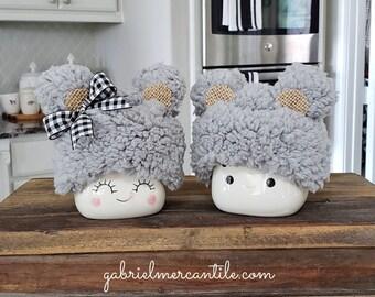 Fluffy Gray Bear Hats  for Marshmallow Mugs. Farmhouse Decor. Tier Tray Decor. Tier Stand Decor. Rae Dunn Decor.
