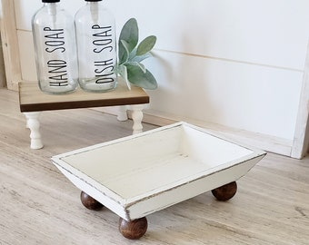 Tapered Rectangular Wood Riser Stand. Wood Riser. Wood Stand. Wood Pedestal. Wood Tray. Farmhouse. Rae Dunn. Rustic. Distressed.
