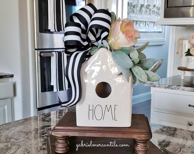 Decorated Ceramic Bird House. Farmhouse Decor. Rae Dunn.