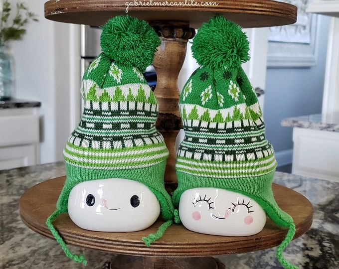 Green Knit Hats for Marshmallow Mugs. Farmhouse Decor. Tier Tray Decor. Tier Stand Decor. Rae Dunn Decor.