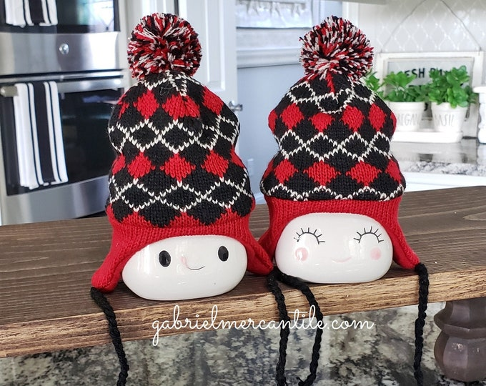 Red and Black Nordic Diamond Pattern Warm Knit Hats  for Marshmallow Mugs.