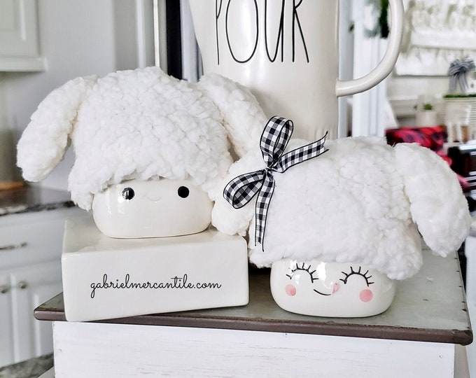 Fluffy Puppy Hats with Droopy Ears for Marshmallow Mugs. Farmhouse Decor. Tier Tray Decor. Tier Stand Decor. Rae Dunn Decor.