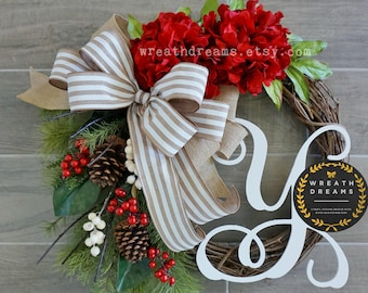 LIMITED QTY! Hydrangea Christmas Grapevine Wreath. Christmas Wreath. Holiday Wreath. Winter Wreath. Door Wreath. Monogram Wreath.