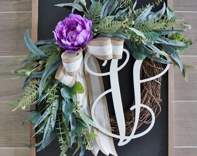 Purple Peony & Mixed Eucalyptus Wreath