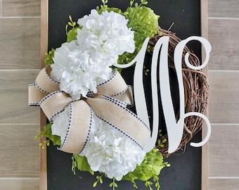 Hydrangea Grapevine Wreath. Farmhouse Wreath. Door Wreath. .