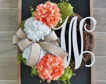 Coral Hydrangea Grapevine Wreath