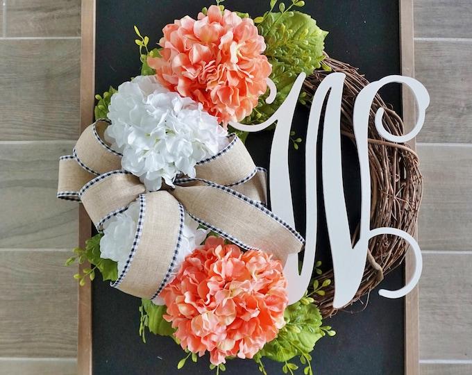 Coral Hydrangea Grapevine Wreath. Farmhouse Wreath. Door Wreath. .