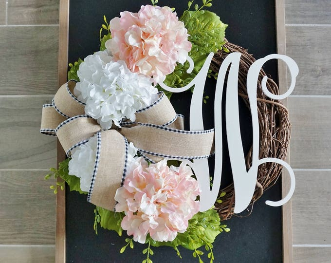 Pale Pink Hydrangea Grapevine Wreath