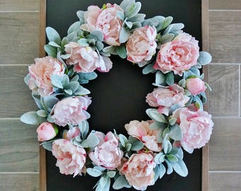 "12"" to 32"" Pink Peony & Lamb's Ear Wreath."
