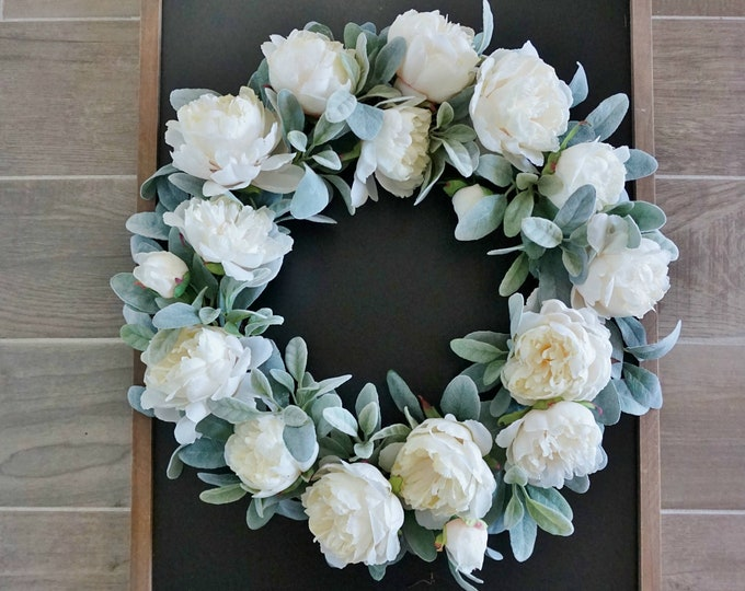 "12"" to 32"" White Peony & Lamb's Ear Wreath."