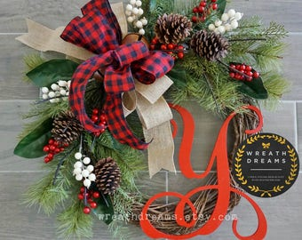 LIMITED QTY! Christmas Wreath. Christmas Wreath. Holiday Wreath. Winter Wreath. Door Wreath. Monogram Wreath. Artificial Wreath.