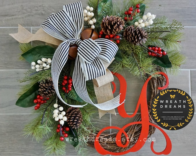 Best Selling! Christmas Wreath. Christmas Wreath. Holiday Wreath. Winter Wreath. Door Wreath. Monogram Wreath. Artificial Wreath.