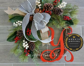 Best Selling! Christmas Wreath. Christmas Wreath. Holiday Wreath. Winter Wreath. Door Wreath. Monogram Wreath. Artificial Wreath.