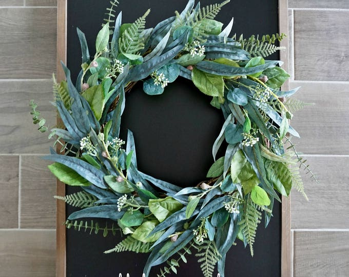 Mixed Eucalyptus & Fern Wreath.