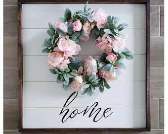 Shiplap Frame With Grapevine Wreath & Home Sign