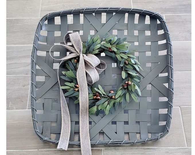 Gray Wash Painted Tobacco Basket with Olive Wreath.