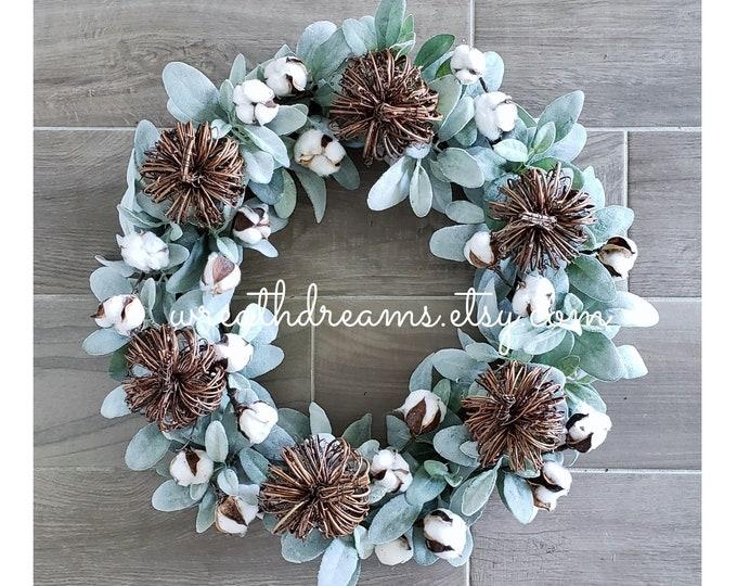 Fall wreath with Lambs Ear,  Cotton Stems & Vine Pumpkins