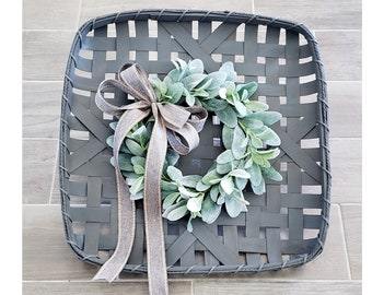 Gray Wash Painted Tobacco Basket with Lambs Ear Wreath.