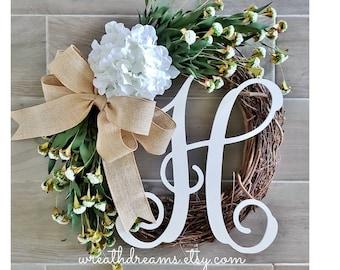 White Hydrangea Wreath. Year Round Wreath. Spring Wreath. Summer Wreath. Door Wreath. Grapevine Wreath.