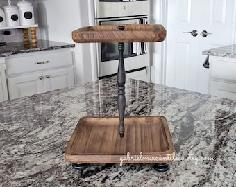 Square Paulownia Wood To Tier Tray Stand. Wood Riser. Wood Stand. Wood Tray. Wood Pedestal. Farmhouse. .