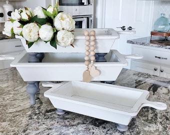 Distressed White Wood Dough Bowl Riser. Wood Riser. Wood Stand. Wood Pedestal. Wood Tray.