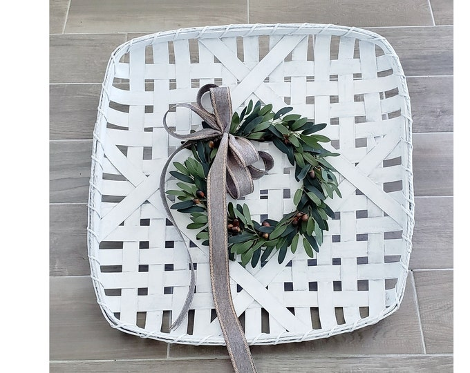 White Wash Painted Tobacco Basket Wreath with Olive Wreath.