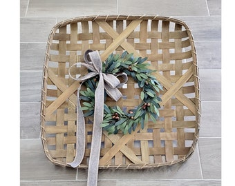 Natural Finish Tobacco Basket Wreath with Olive Wreath.