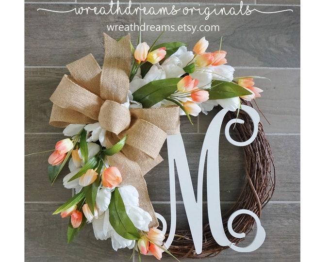 Tulip Wreath. Year Round Wreath. Spring Wreath. Summer Wreath. Door Wreath. Grapevine Wreath.