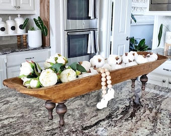 Extra Long Footed Wood Dough Bowl Riser. Wooden Riser. Wood Stand. Wood Tray. Footed Tray. Footed Stand. Dough Bowl. Wood Bowl