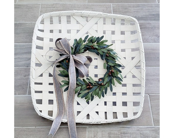 Antique White Painted Tobacco Basket Wreath with Olive Wreath.
