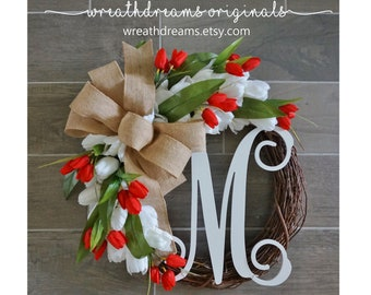 Tulip Wreath. Year Round Wreath. Spring Wreath. Summer Wreath. Door Wreath. Grapevine Wreath.