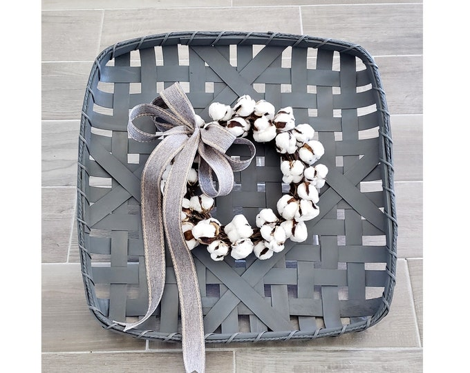 Gray Wash Painted Tobacco Basket Wreath with Cotton Wreath.