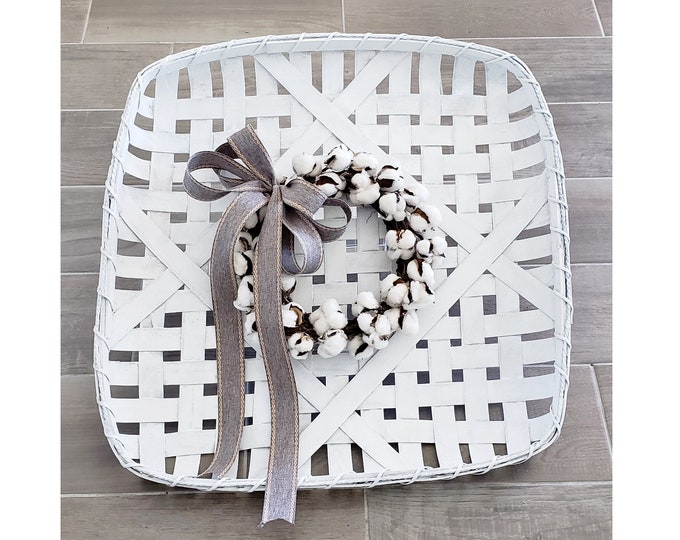 White Wash Painted Tobacco Basket Wreath with Cotton Wreath.