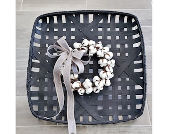 Black Wash Painted Tobacco Basket with Cotton Wreath.