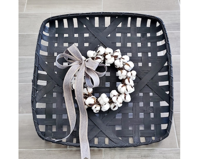 Black Wash Painted Tobacco Basket Wreath with Cotton Wreath.