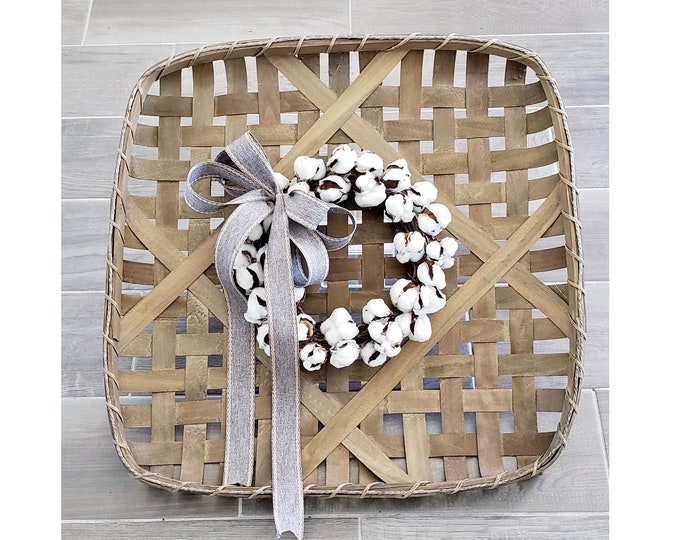 Natural Finish Tobacco Basket Wreath with Cotton Wreath.