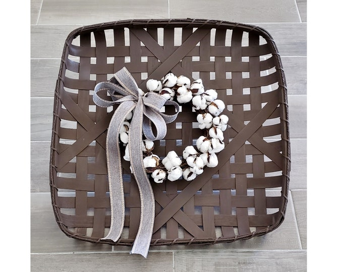 Espresso Painted Tobacco Basket Wreath with Cotton Wreath.