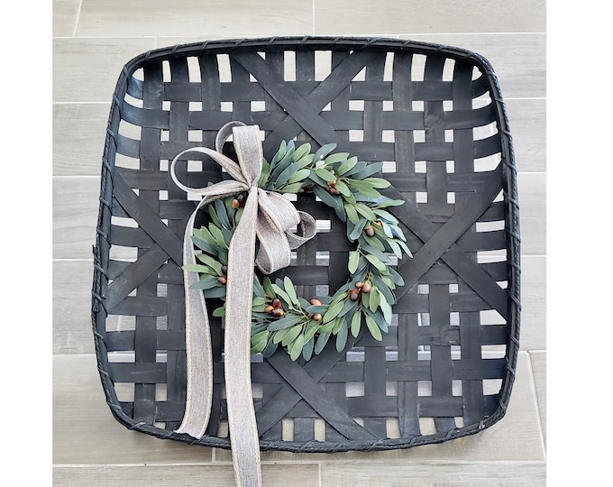 Black Wash Painted Tobacco Basket Wreath with Olive Wreath.