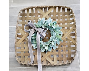 Natural Finish Tobacco Basket Wreath with Lambs Ear Wreath.