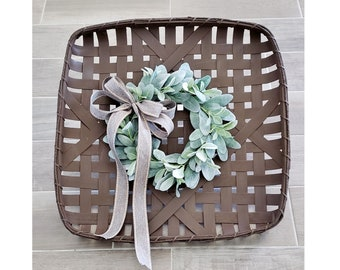 Espresso Painted Tobacco Basket with Lambs Ear Wreath.