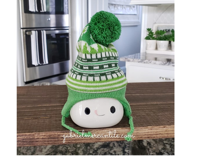 Green Knit Hats for Marshmallow Mugs.