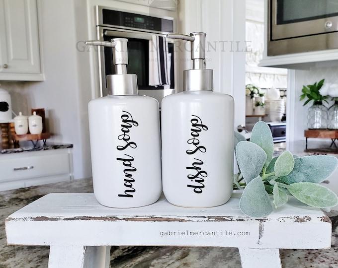 16 oz Empty Ceramic Bottle Refill Dispenser with Pump   Hand Soap   Dish Soap   Dispenser Bottle   Refillable Soap Dispenser
