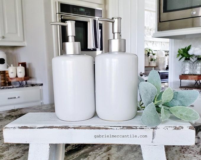 16 oz Empty Ceramic Bottle Refill Dispenser with Pump | Hand Soap | Dish Soap | Dispenser Bottle | Refillable Soap Dispenser