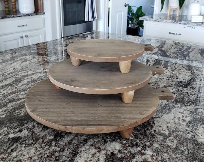 Round Organic Wood Cutting Board Risers in Natural Wood. Wood Riser. Wood Stand. Wood Pedestal. Wood Tray. Farmhouse. Distressed.