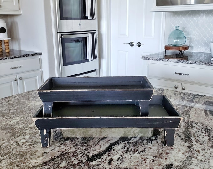 Short Rectangular Wood Tray Riser. Wooden Riser. Wood Riser. Wood Stand. Wood Pedestal. Wood Tray. Footed Tray. Footed Stand.