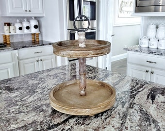 MEDIUM Round Rustic Wood 2 Tier Tray Stand. Wood Riser. Wood Stand. Wood Tray. Wood Pedestal. Farmhouse. .